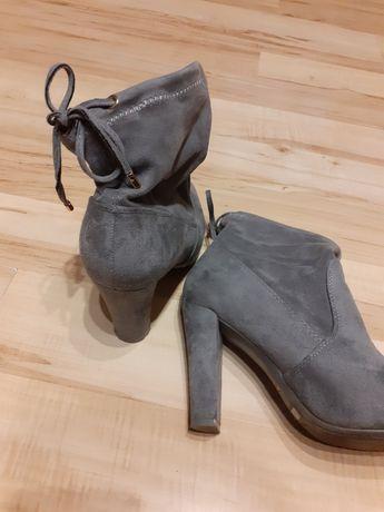 Buty botki róż 38 szare zamszowe