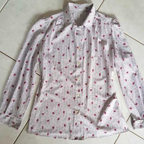 M/L Vintage Retro koszula we wzorki printy elegancka kobieca taliowana