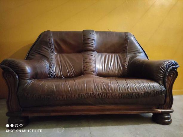 Skórzana holenderska 2-osobowa sofa dębowa