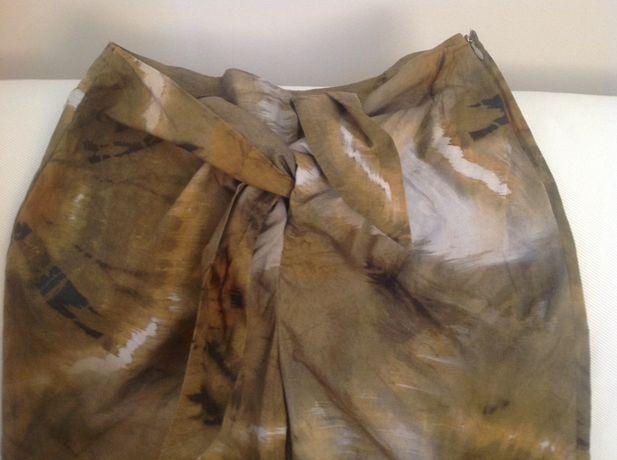 Kolorowe, płócienne spodnie Zara S