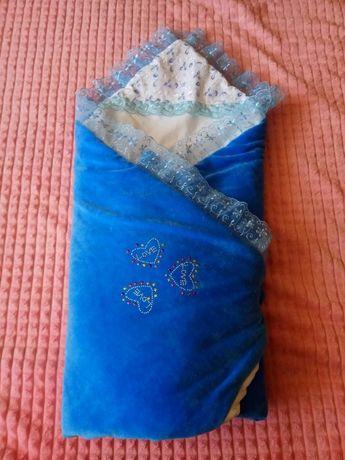 Конверт-одеялко на выписку для мальчика + подарок