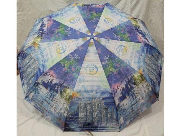 Женский зонт Полуавтомат, Антиветер, 10 спиц карбон складной зонтик