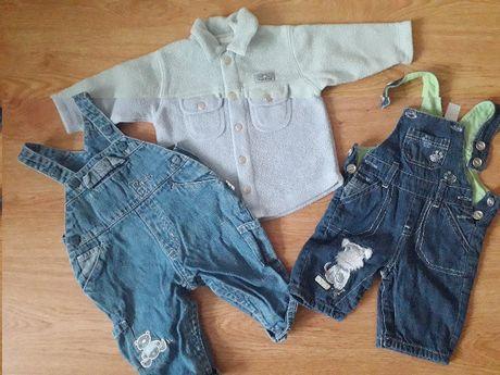 spodnie ogrodniczki jeansowe koszula polarowa 56/62