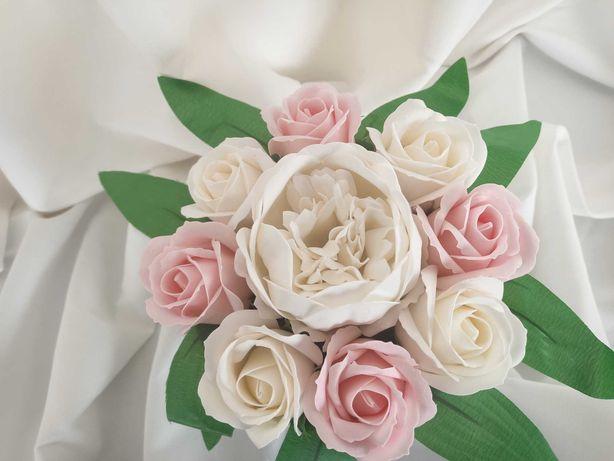 Komunia Święta kwiaty mydlane prezent flower box róże