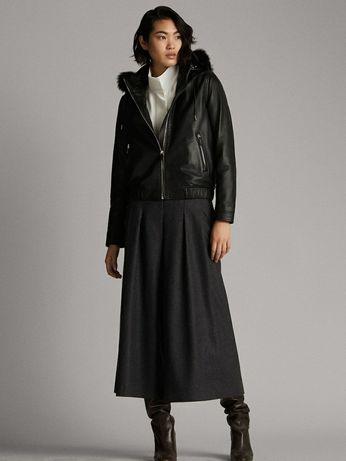 Женская кожаная куртка с капюшоном Massimo Dutti, размер S.