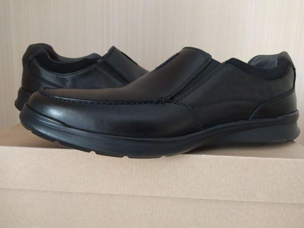 Clarks премиум кожа оригинал черные туфли US15