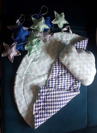 Mata/worek na zabawki + poduszka chmurka + girlanda gwiazdki