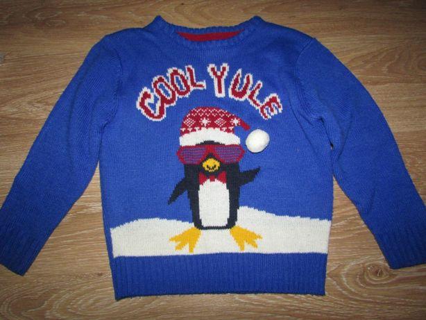 Новогодний свитер с пингвином на мальчика 6-7 лет