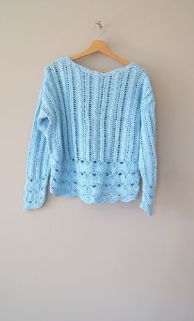 mietowy turkusowy jasnoniebieski szydelkowy koronkowy sweterek 36S 38M