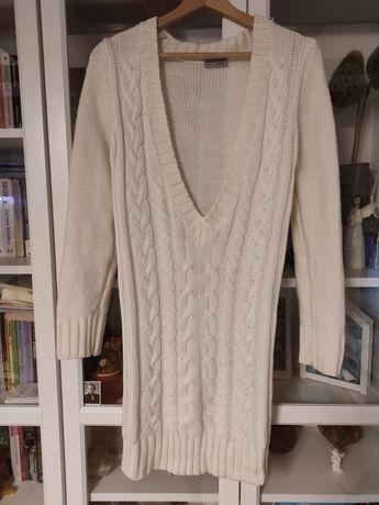 Długi sweter 36 / S KREMOWY ATMOSPHERE