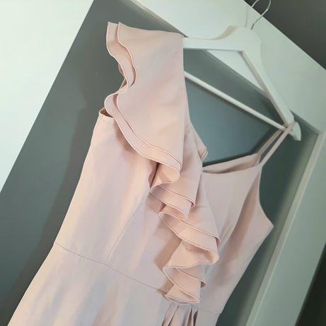 Sukienka długa, maxi pudrowy ròż, falbana