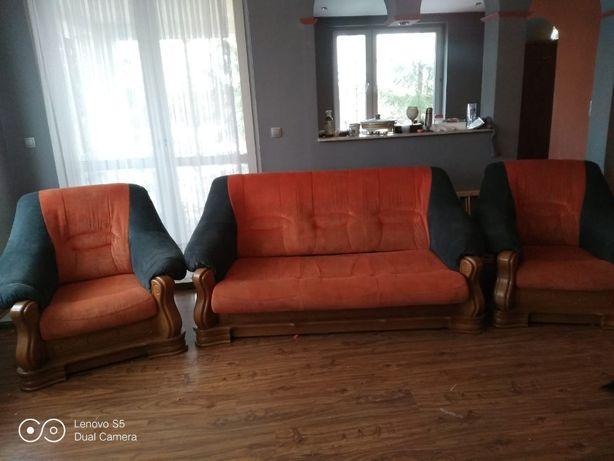 Sofa i dwa fotele- dębowe
