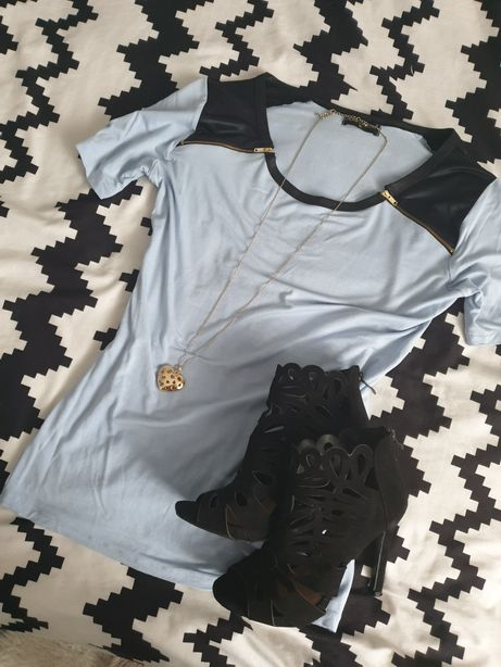 Bluzka zamki skórka XL 42