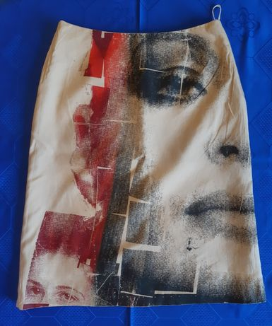 Spódnica damska jedwabna z nadrukiem Birgit Bogusch beżowa 100% silk