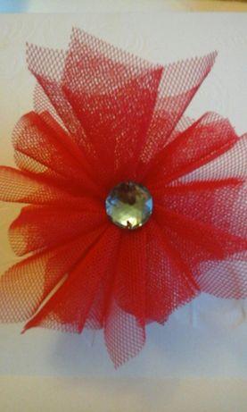 Gumki do włosów z tiulowym kwiatem i dekoracja