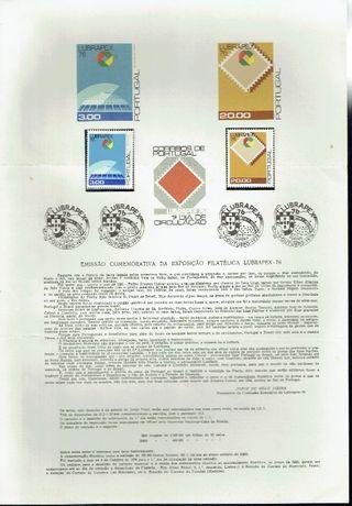 Filatelia-PORTUGAL Pagela + Selos ano 1976
