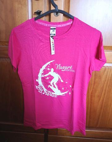 T-shirt rosa Nazaré Na Design 100% algodão, tam S - nova com etiqueta
