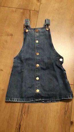 Sukienka dzinsowa ogrodniczkaf&f 4/5lat szelki