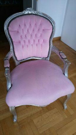 Fotel Ludwik stylizowany, różowy
