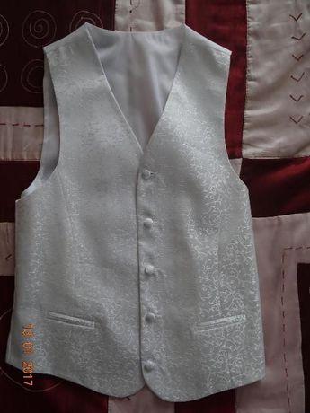 Kamizelka ślubna, krawat, poszetka komplet