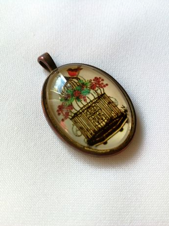 Wisiorek medalion - ptaszek, klatka