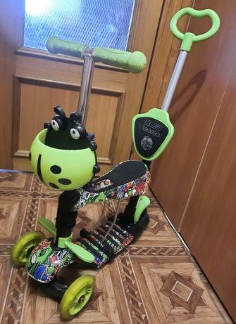 Самокат Best Scooter с сидением и ручкой для родителей