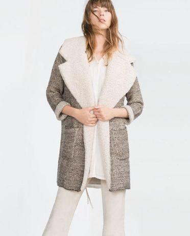 Плотный удлиненный пальто-кардиган zara knit s - m