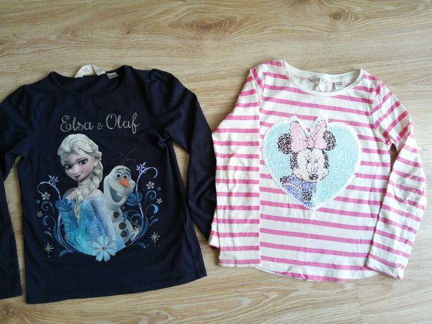 Koszulki bluzki h&m Frozen kraina lodu minnie Daisy 122-128 cekiny