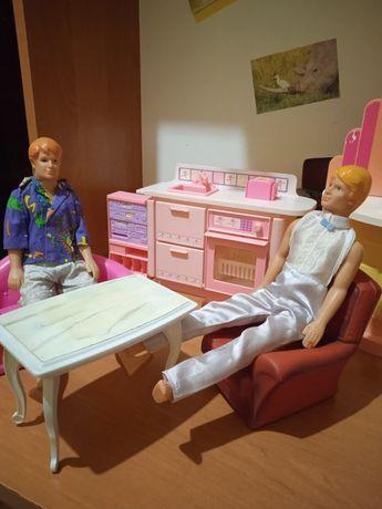 Игрушечная мебель для барби, две куклы в подарок