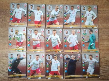 Kolekcja Panini karty piłkarskie srebrne 15 szt. Lewandowski Nawałka