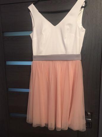Sukienka biało-łososiowa w rozmiarze S