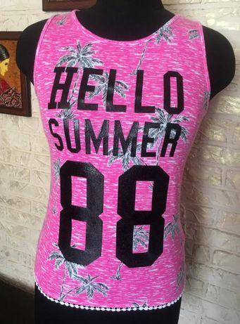 Натуральная розовая майка hello summer 88 F&F 13/158