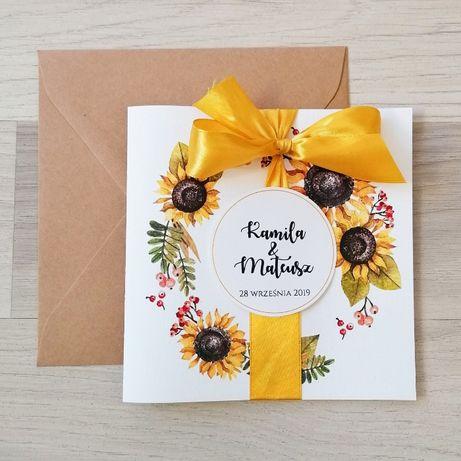 Zaproszenia na ślub ze słonecznikiem