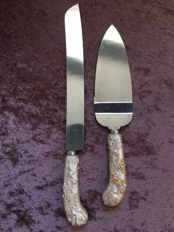 Conjunto de faca e espatula bolo noiva