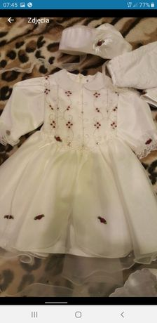 Ubranko komplet sukienka do chrztu dla dziewczynki 68/74
