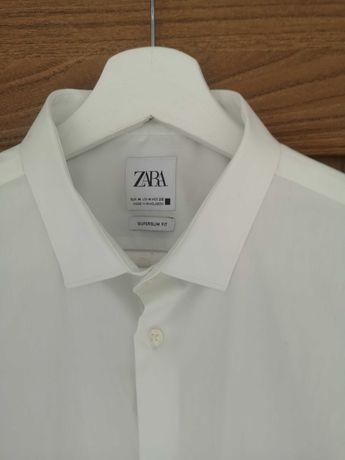Koszula męska biała slimfit Zara M L 38 40