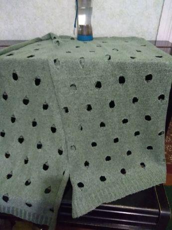 Шарф шаль ажурный, оливкового цвета