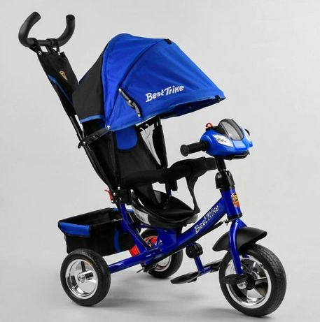 Детский трёхколёсный велосипед Best Синий, родительская ручка