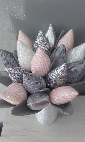 Tulipany glamour błyszczące srebrne prezent ozdoba bukiet