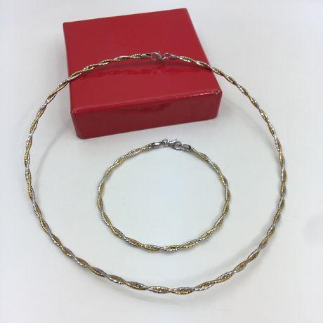 Conjunto Fio Colar e Pulseira em Prata 925 Itália / Prata Dourada