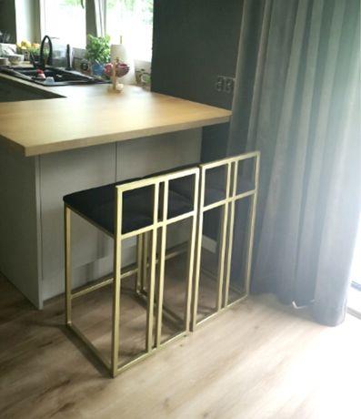 Złoty hoker/krzeslo w stylu industrialnym loft
