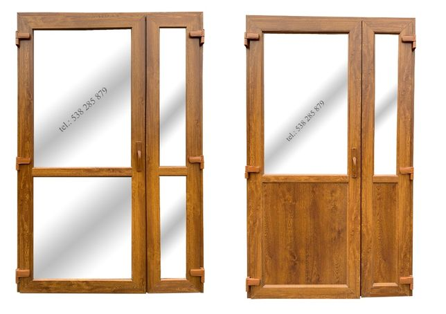 Drzwi zewnętrzne PCV 125x210 złoty dąb SKLEPOWE BIUROWE * NOWE od reki