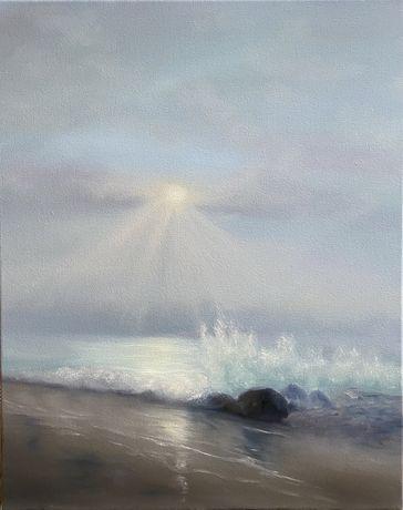 Картина маслом «Нежное утро», морской пейзаж, море