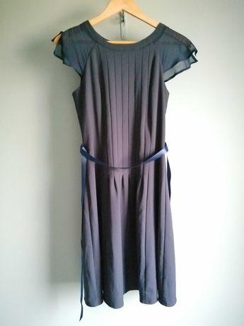 ORSAY Granatowa sukienka ze wstążką