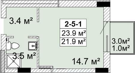Смарт-квартира 23 кв.м ул.Г.Бочарова VV