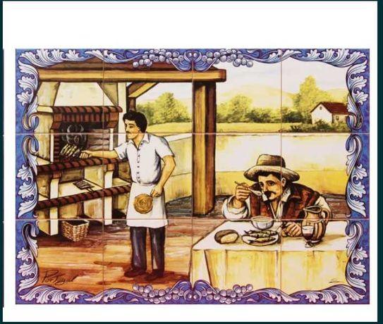 Painel de Azulejos Churrasqueira Tradicional Monte Alentejano Quadro