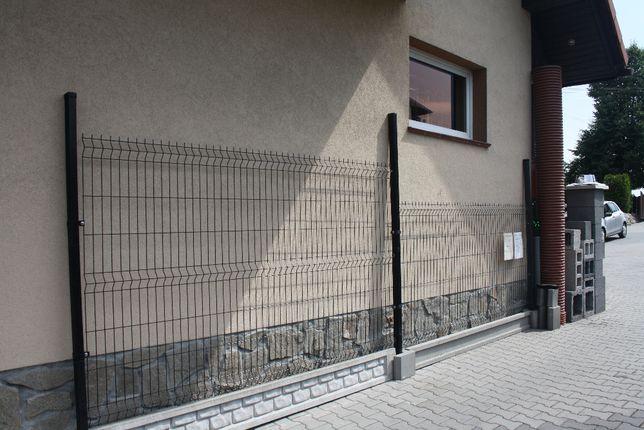 Ogrodzenie Panelowe Kompletne 1,23m OCYNK+KOLOR fi 4 z płytą cokołową