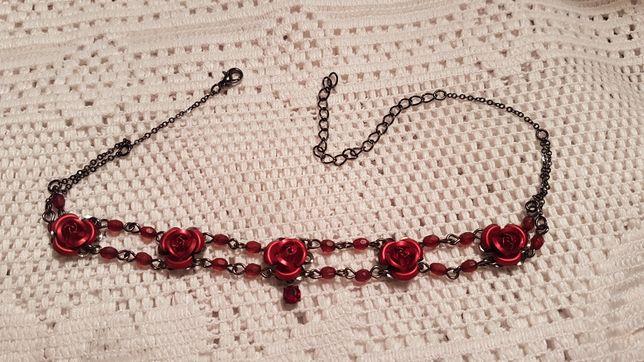 Naszyjnik Choker czerwone róże vintage
