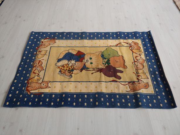 Carpete azul gatos antigo 162x113cm