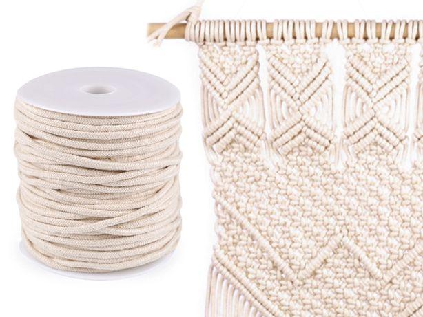 Sznurek do makramy 5mm, 45m naturalny lub biały, 100% bawełna,